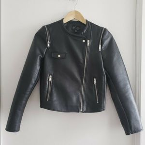 Zara TRF Collection Faux Leather Black Jacket
